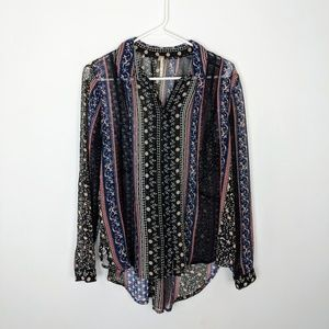 Free People Sheer Printed Button Down Blouse Small